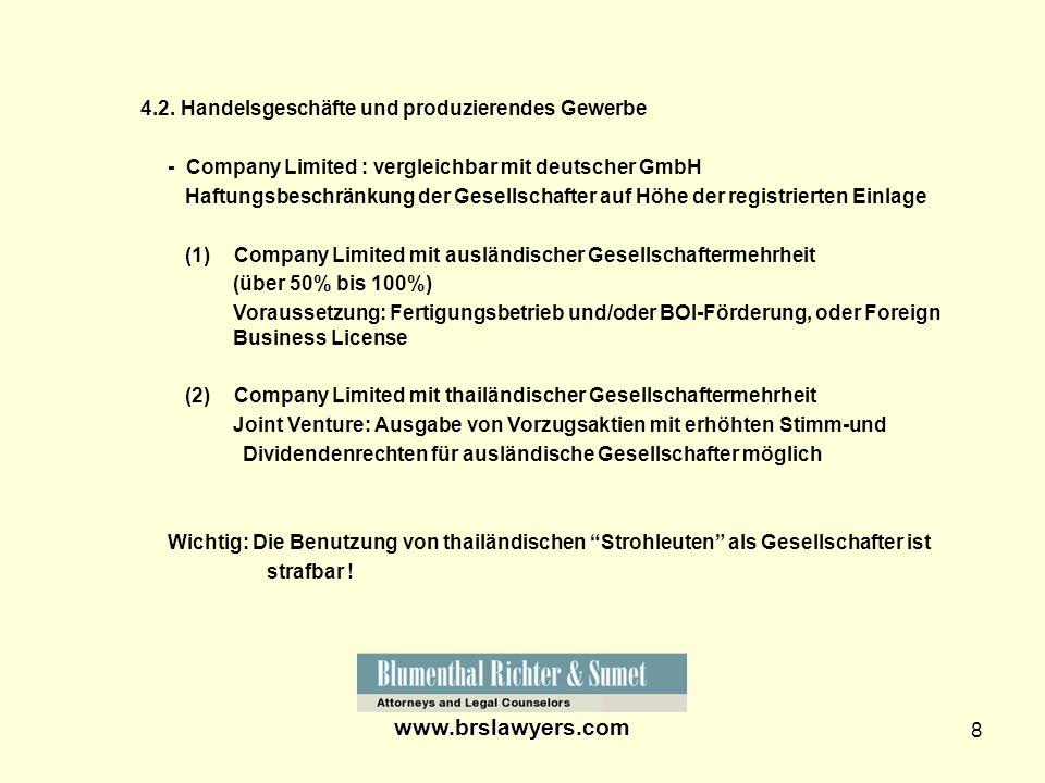 www.brslawyers.com 4.2. Handelsgeschäfte und produzierendes Gewerbe