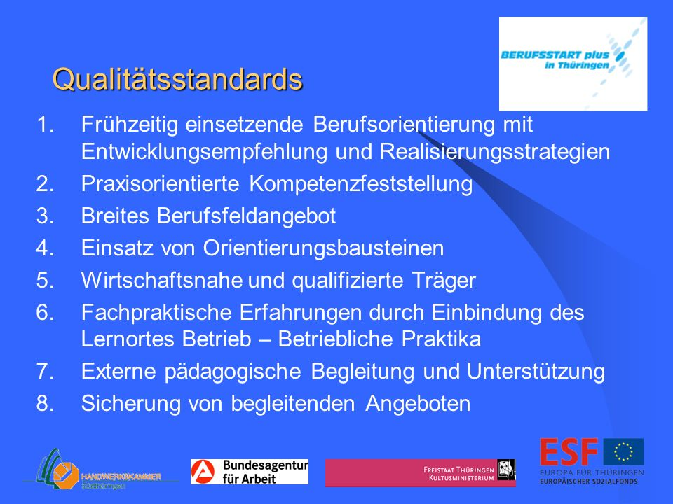 Qualitätsstandards Frühzeitig einsetzende Berufsorientierung mit Entwicklungsempfehlung und Realisierungsstrategien.