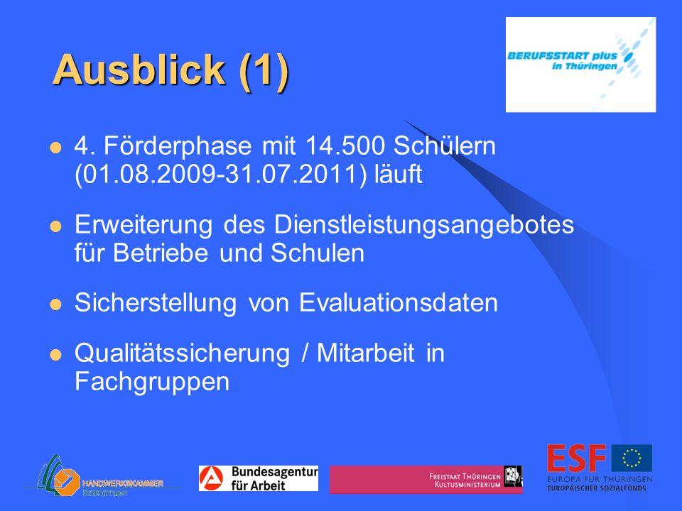 Ausblick (1) 4. Förderphase mit 14.500 Schülern (01.08.2009-31.07.2011) läuft. Erweiterung des Dienstleistungsangebotes für Betriebe und Schulen.