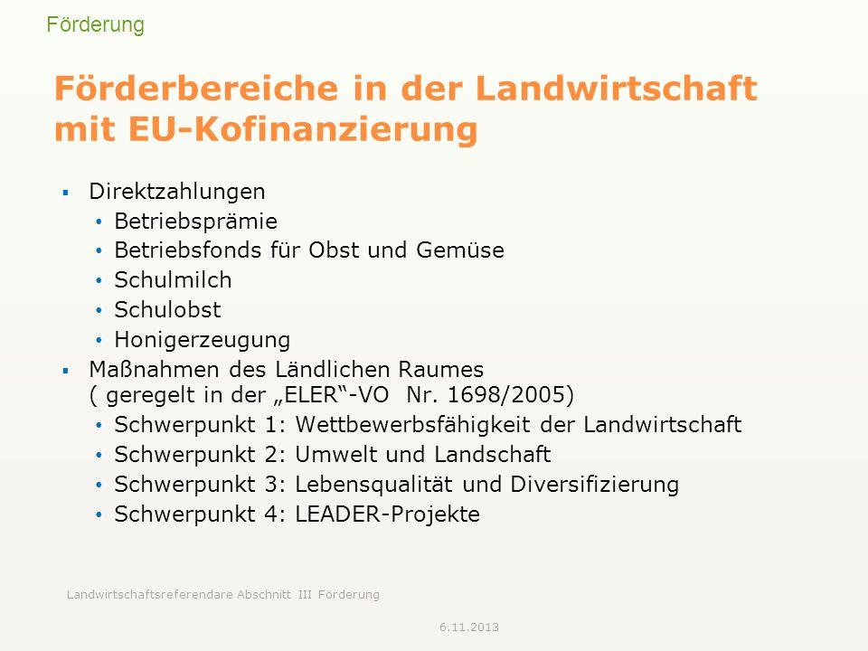 Förderbereiche in der Landwirtschaft mit EU-Kofinanzierung