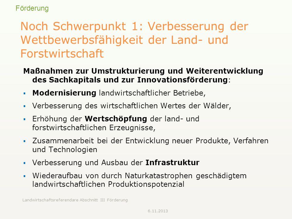 Noch Schwerpunkt 1: Verbesserung der Wettbewerbsfähigkeit der Land- und Forstwirtschaft