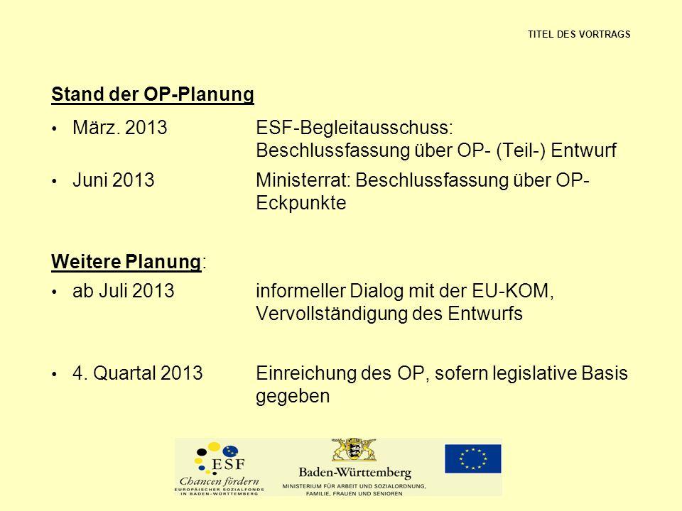 Juni 2013 Ministerrat: Beschlussfassung über OP- Eckpunkte