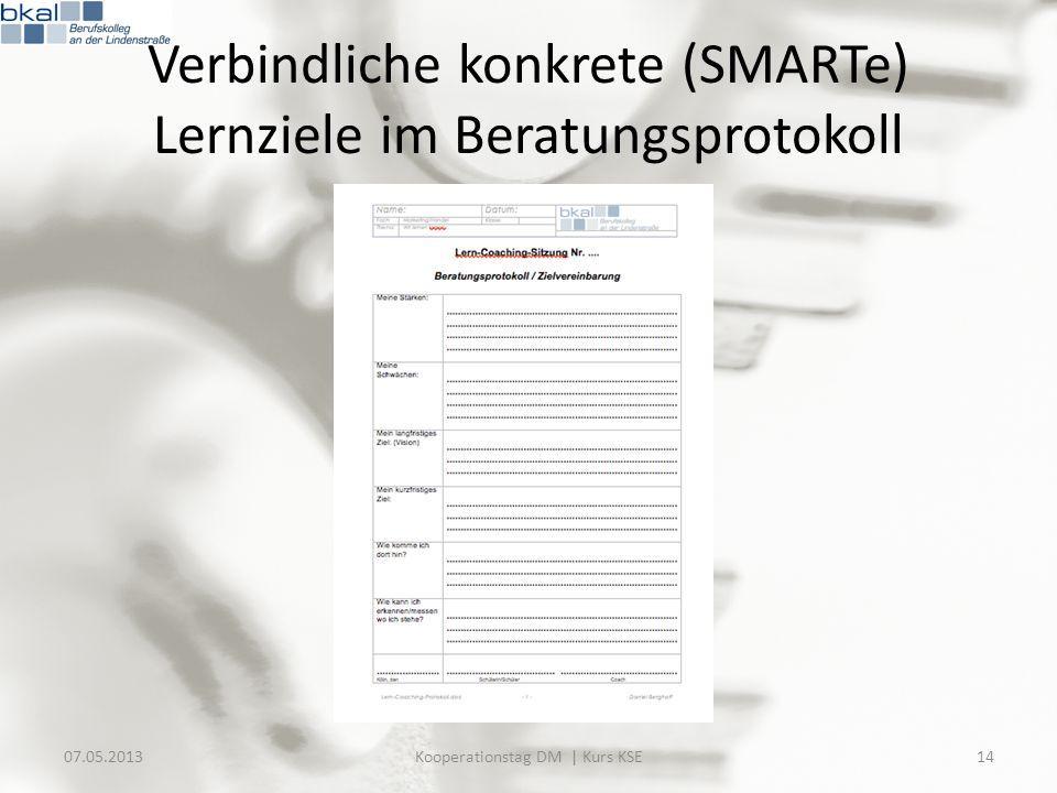 Verbindliche konkrete (SMARTe) Lernziele im Beratungsprotokoll