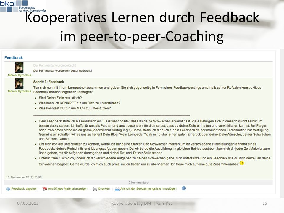 Kooperatives Lernen durch Feedback im peer-to-peer-Coaching