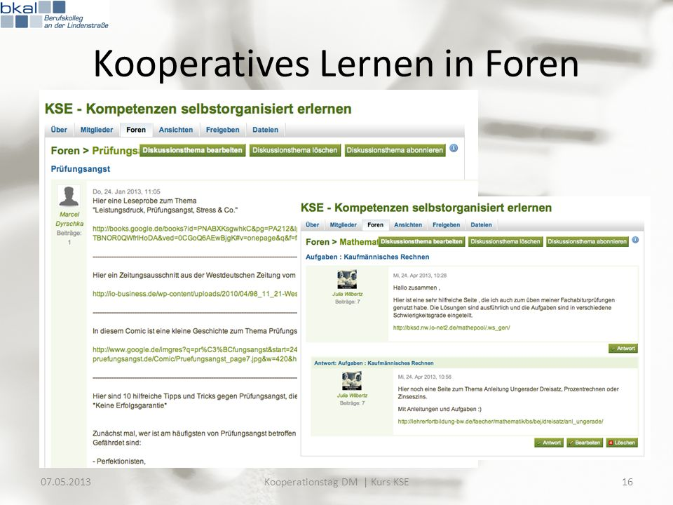 Kooperatives Lernen in Foren