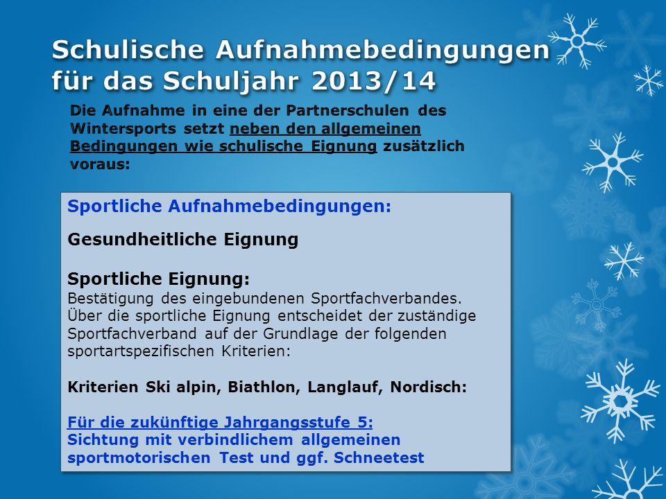 Schulische Aufnahmebedingungen für das Schuljahr 2013/14