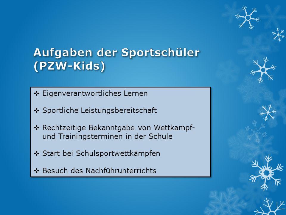 Aufgaben der Sportschüler (PZW-Kids)