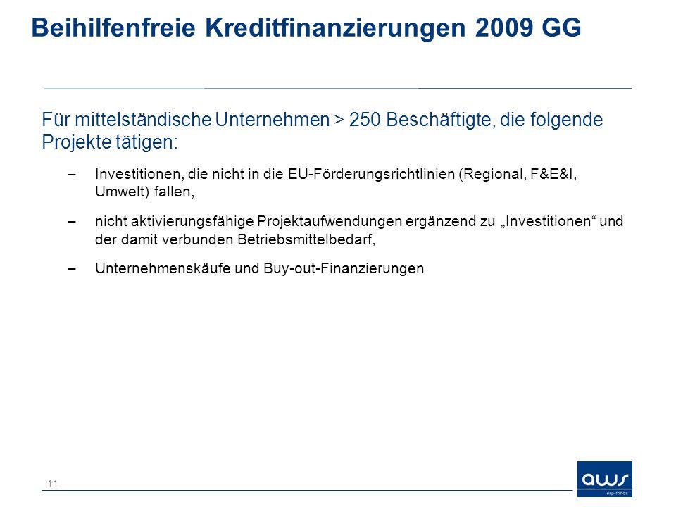 Beihilfenfreie Kreditfinanzierungen 2009 GG