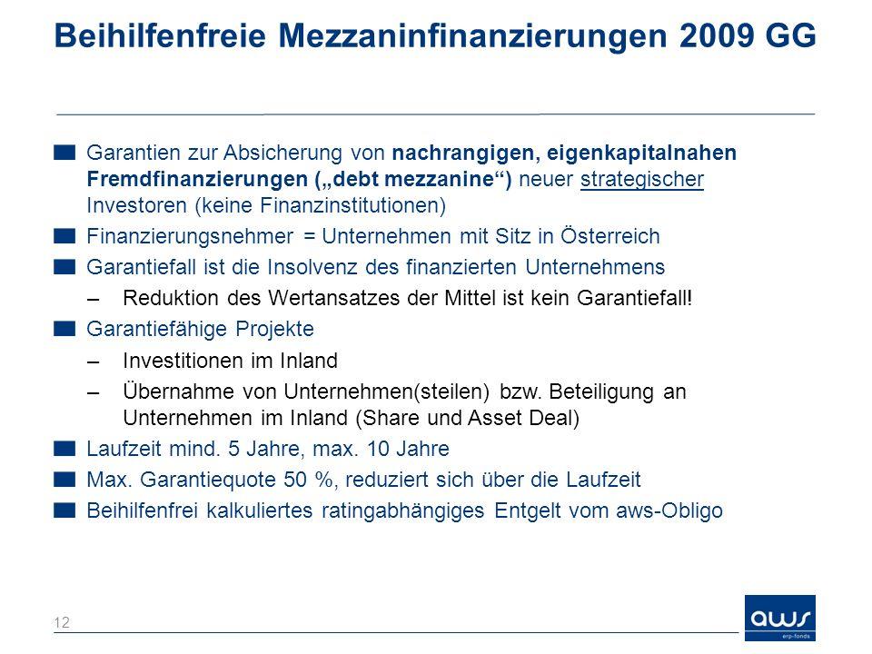 Beihilfenfreie Mezzaninfinanzierungen 2009 GG