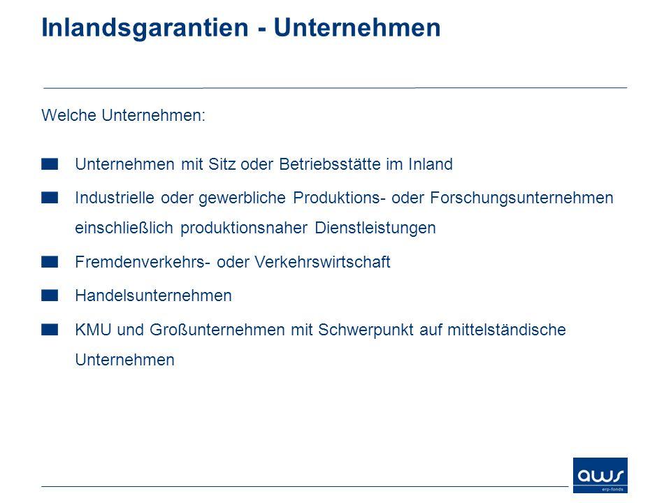 Inlandsgarantien - Unternehmen