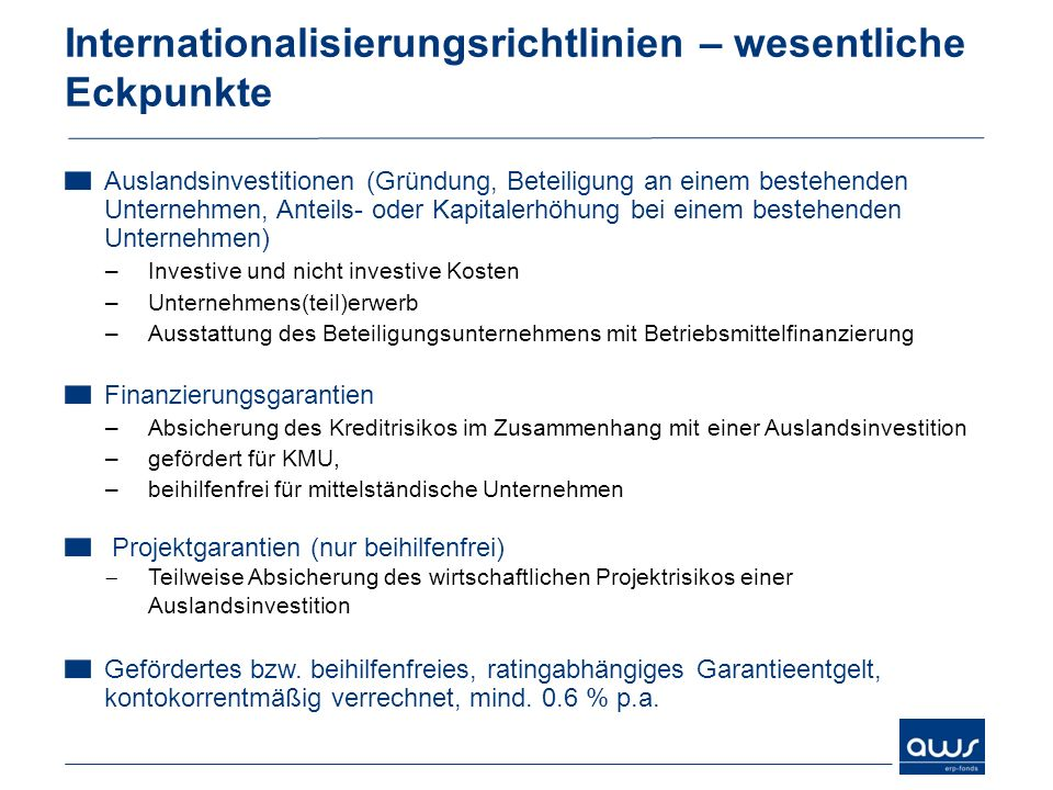 Internationalisierungsrichtlinien – wesentliche Eckpunkte