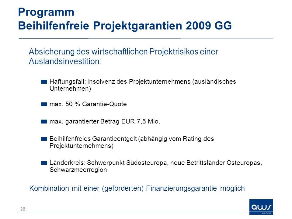 Programm Beihilfenfreie Projektgarantien 2009 GG