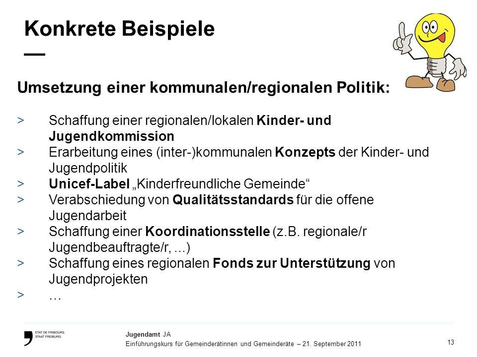 Konkrete Beispiele — Umsetzung einer kommunalen/regionalen Politik: