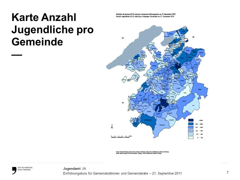 Karte Anzahl Jugendliche pro Gemeinde —