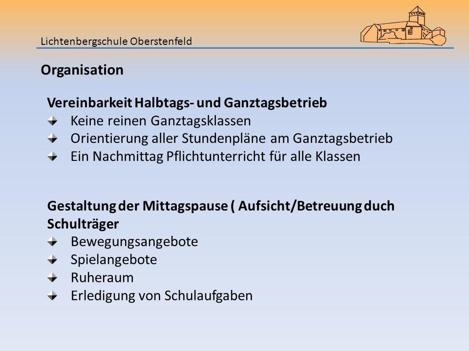 Organisation Vereinbarkeit Halbtags- und Ganztagsbetrieb