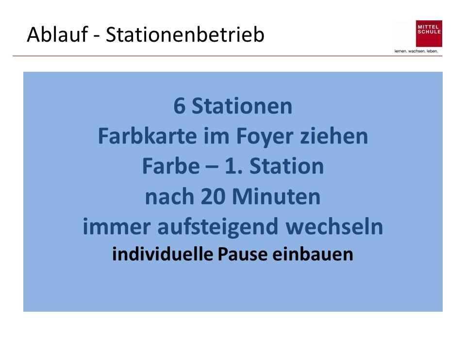 Ablauf - Stationenbetrieb