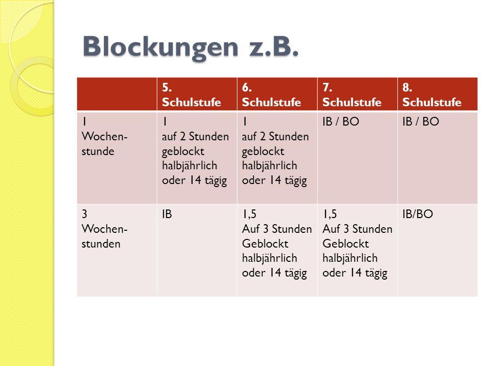 Blockungen z.B. 5. Schulstufe 6. Schulstufe 7. Schulstufe