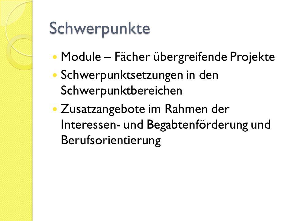 Schwerpunkte Module – Fächer übergreifende Projekte