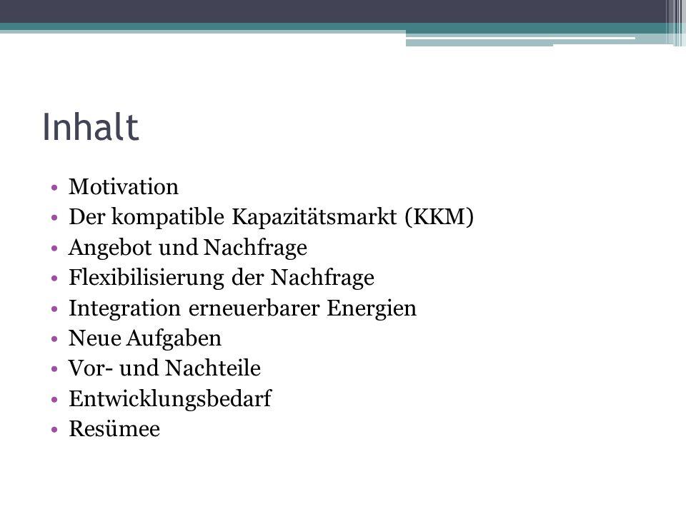 Inhalt Motivation Der kompatible Kapazitätsmarkt (KKM)