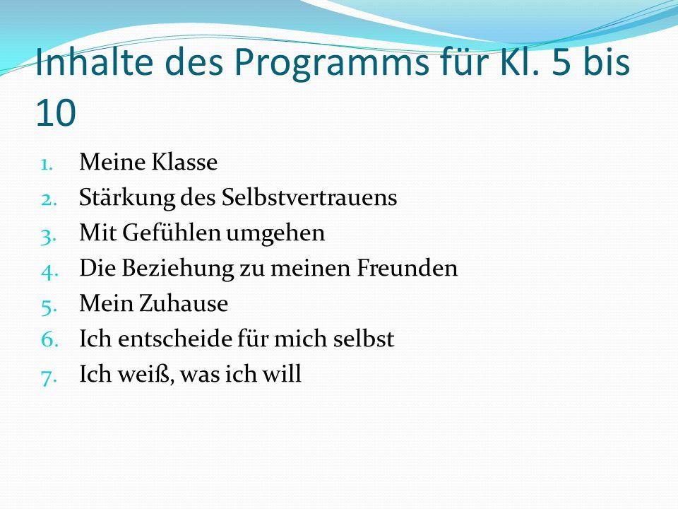Inhalte des Programms für Kl. 5 bis 10