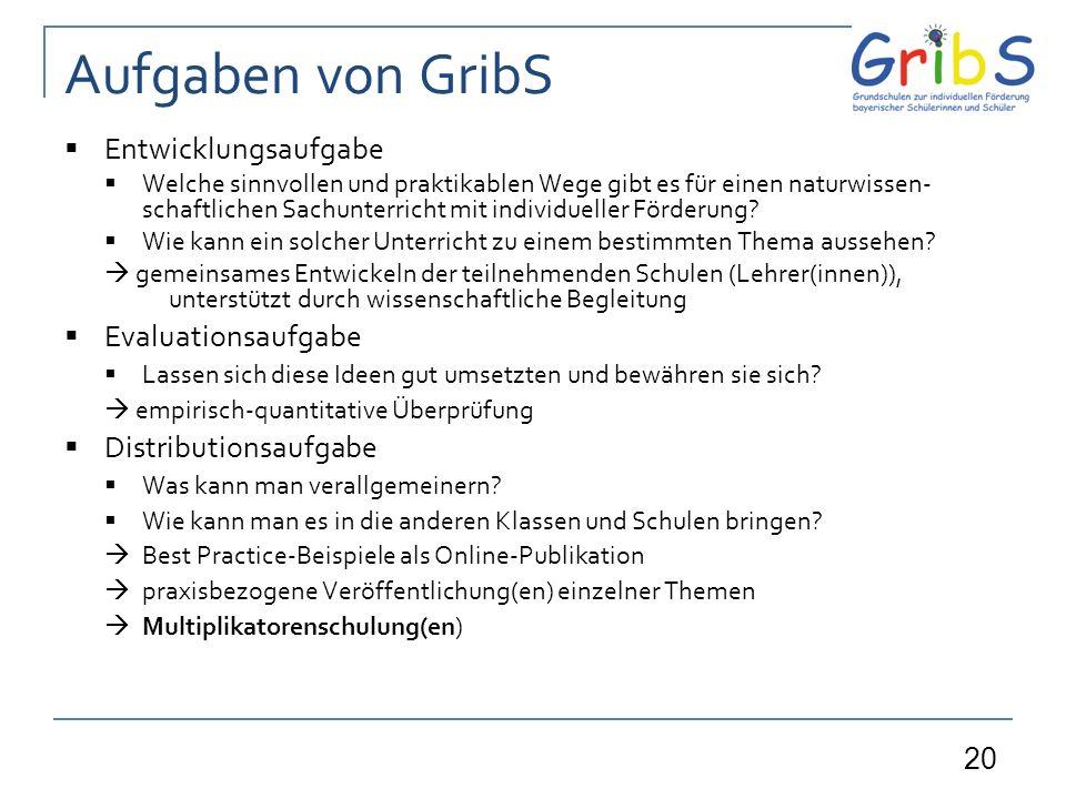 Aufgaben von GribS Entwicklungsaufgabe Evaluationsaufgabe