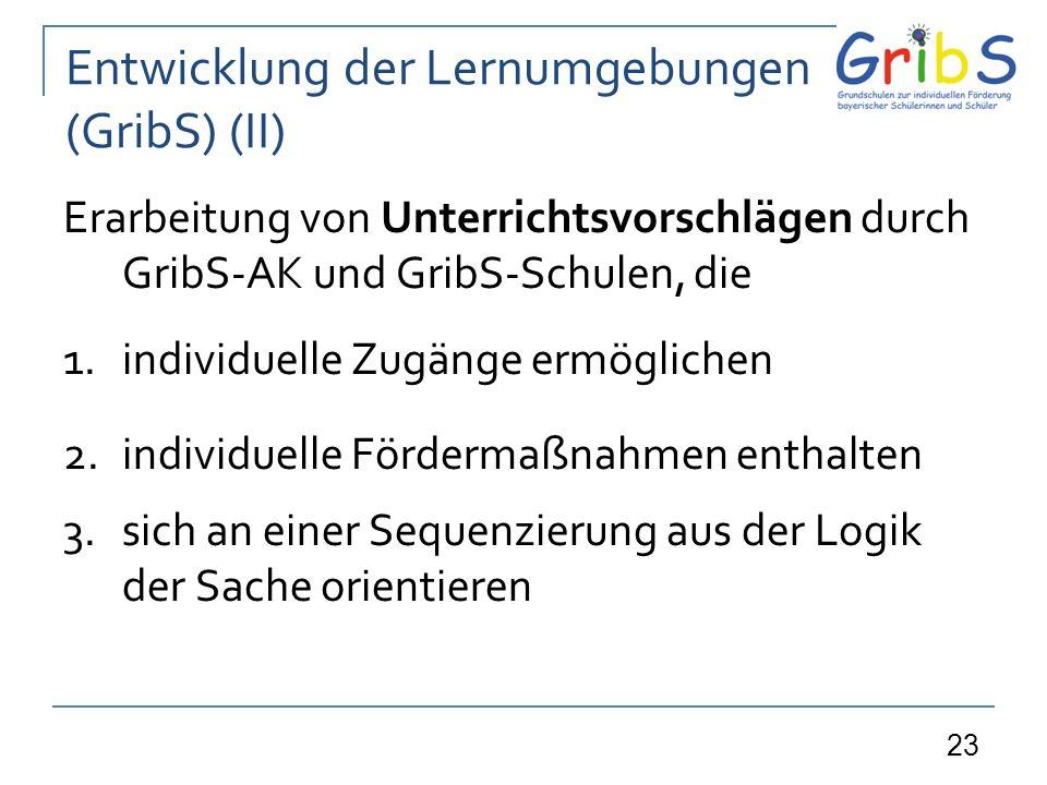 Entwicklung der Lernumgebungen (GribS) (II)