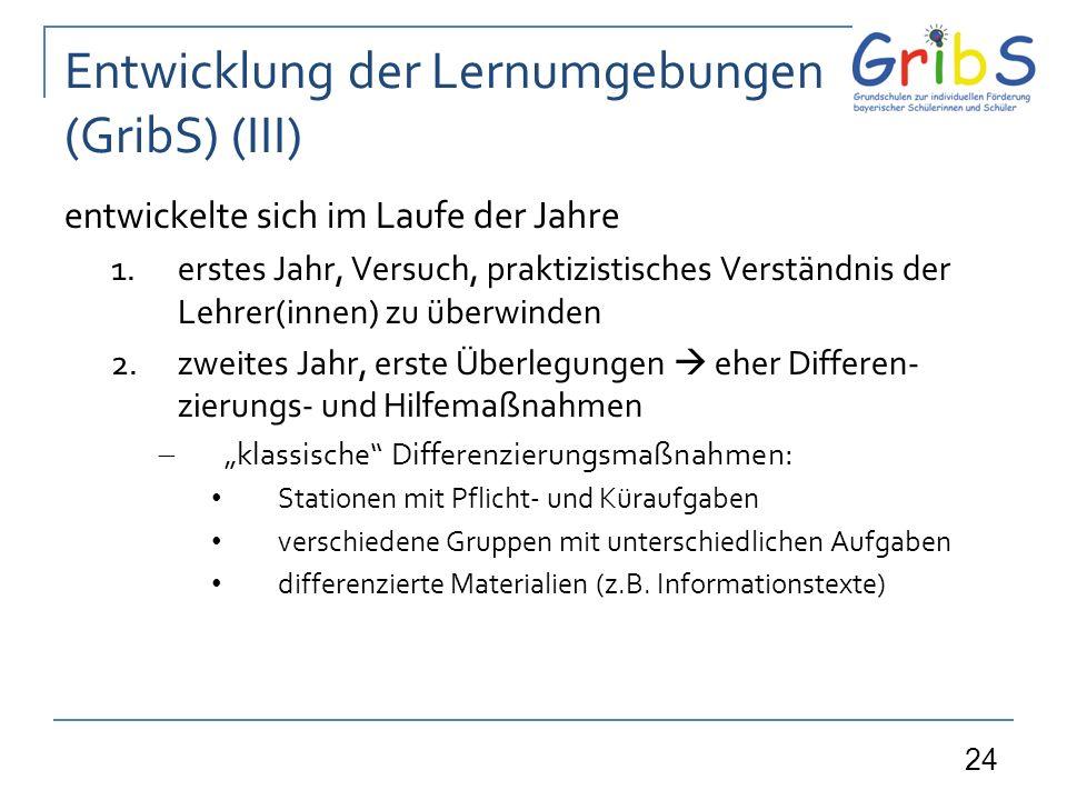 Entwicklung der Lernumgebungen (GribS) (III)