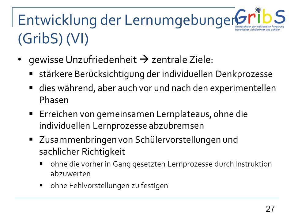 Entwicklung der Lernumgebungen (GribS) (VI)