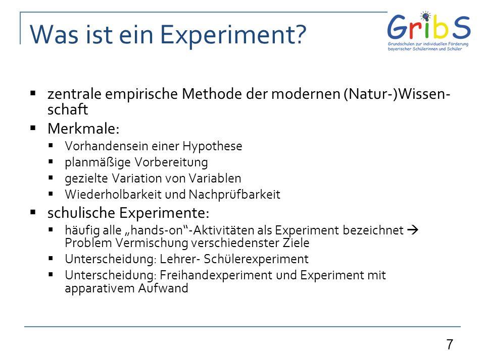 Was ist ein Experiment zentrale empirische Methode der modernen (Natur-)Wissen-schaft. Merkmale: Vorhandensein einer Hypothese.