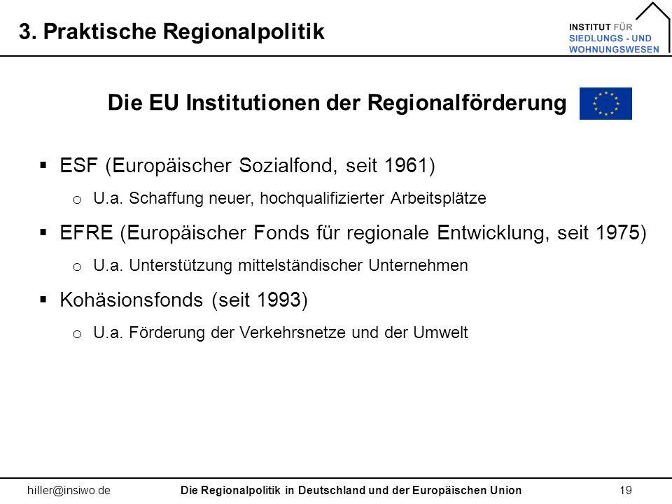 Die EU Institutionen der Regionalförderung
