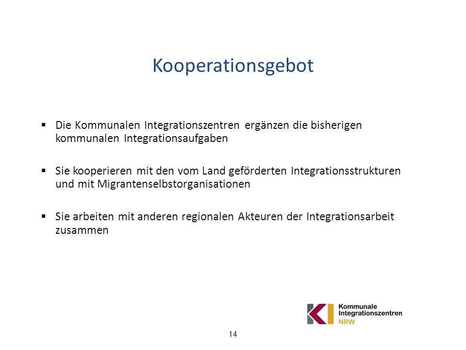 Kooperationsgebot Die Kommunalen Integrationszentren ergänzen die bisherigen kommunalen Integrationsaufgaben.