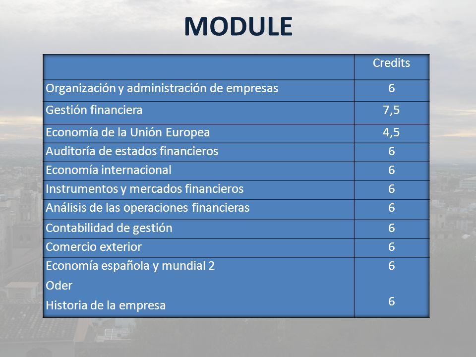 MODULE Credits Organización y administración de empresas 6