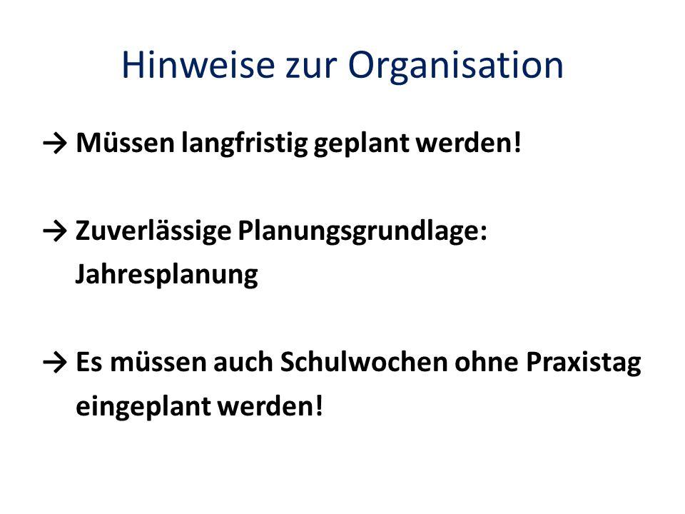 Hinweise zur Organisation
