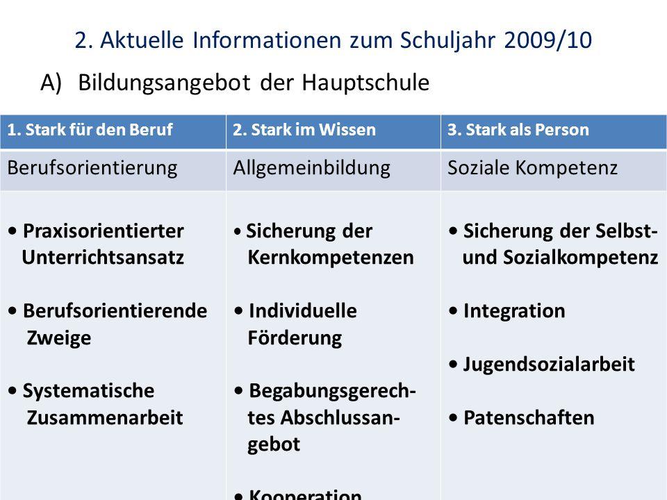 2. Aktuelle Informationen zum Schuljahr 2009/10