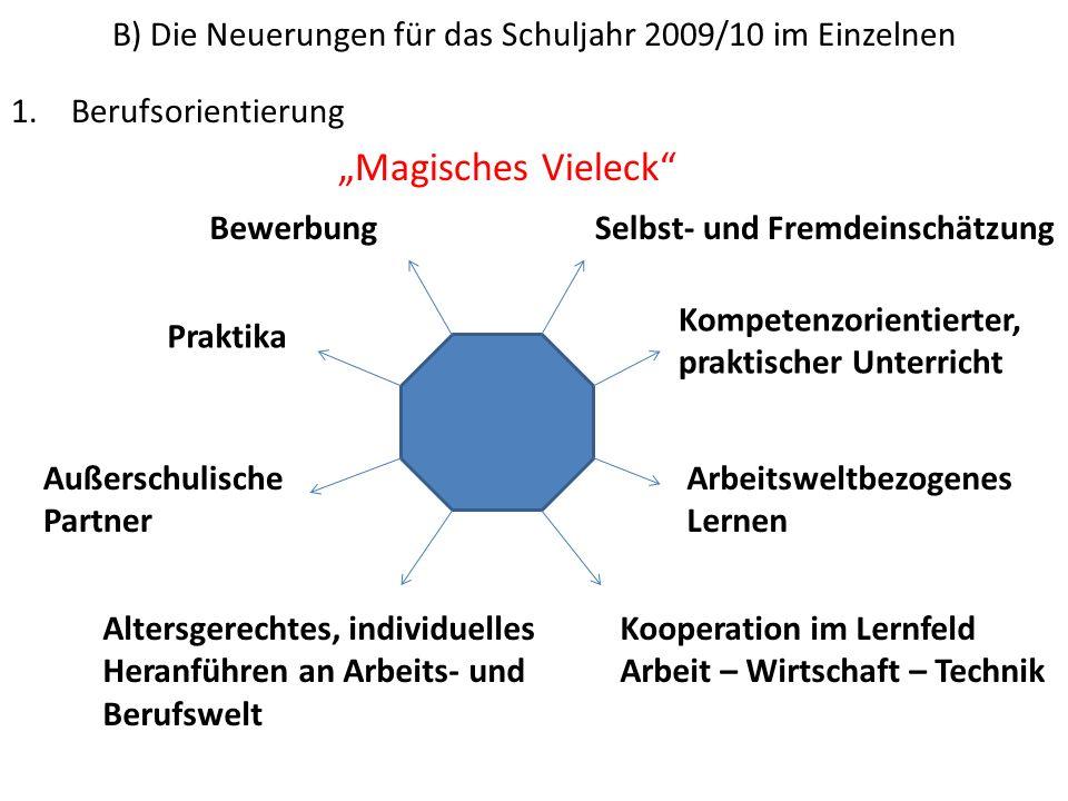 B) Die Neuerungen für das Schuljahr 2009/10 im Einzelnen