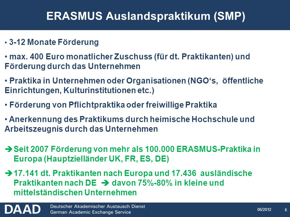 ERASMUS Auslandspraktikum (SMP)