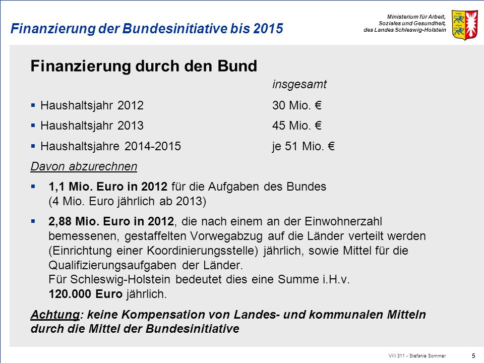 Finanzierung der Bundesinitiative bis 2015