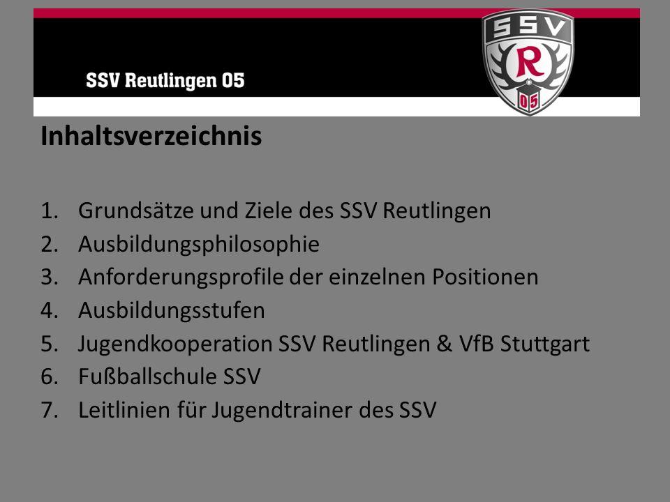 Inhaltsverzeichnis Grundsätze und Ziele des SSV Reutlingen
