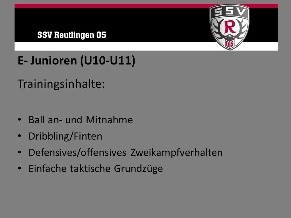 E- Junioren (U10-U11) Trainingsinhalte: Ball an- und Mitnahme