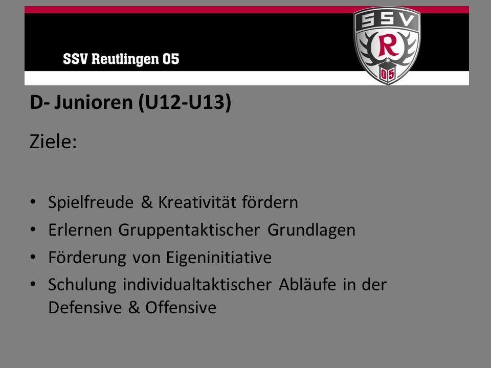 D- Junioren (U12-U13) Ziele: Spielfreude & Kreativität fördern