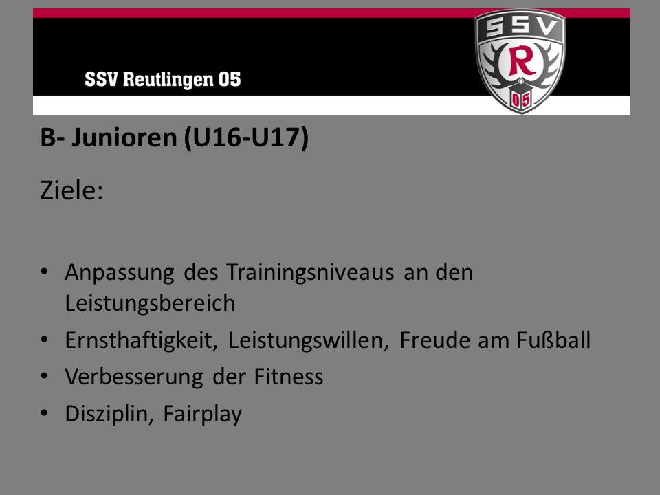 B- Junioren (U16-U17) Ziele: