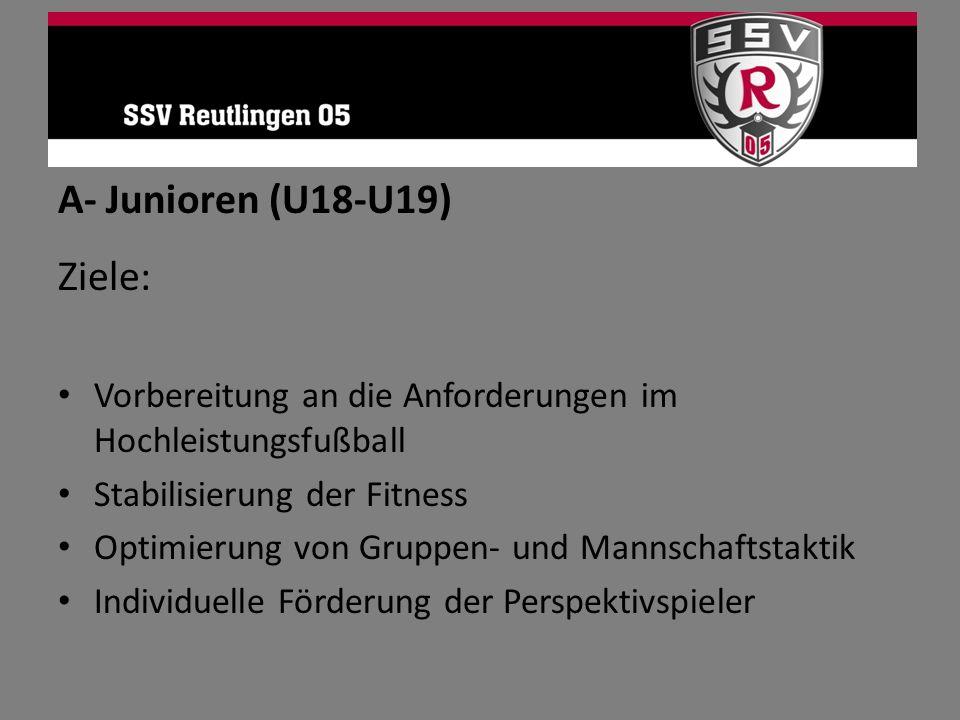A- Junioren (U18-U19) Ziele: