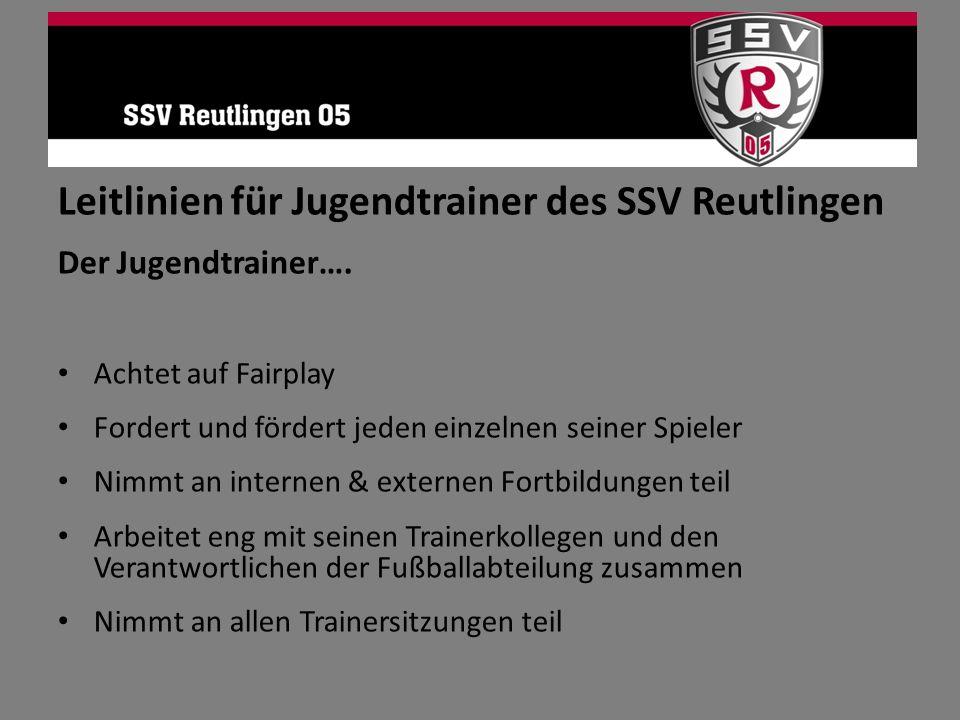Leitlinien für Jugendtrainer des SSV Reutlingen