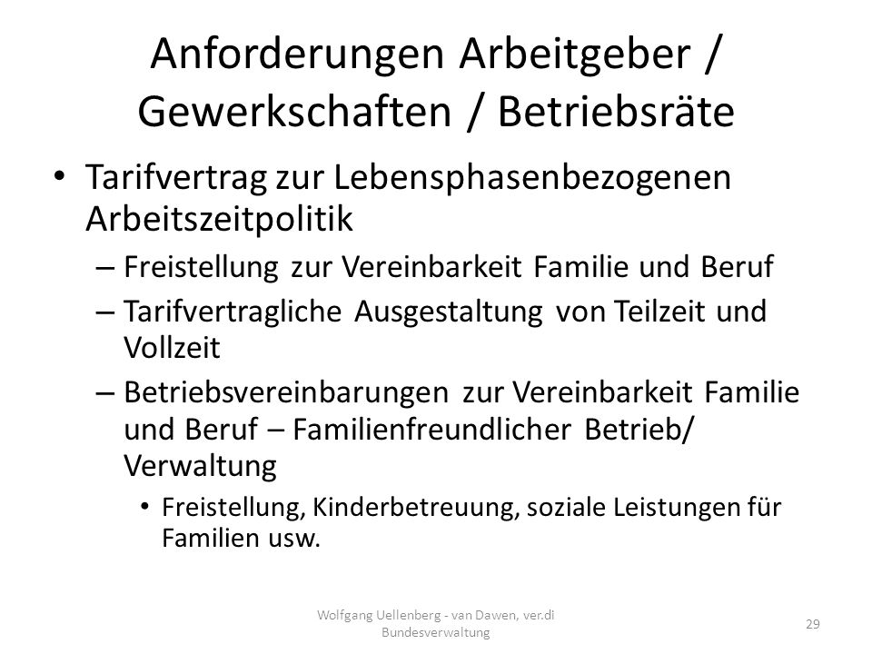 Anforderungen Arbeitgeber / Gewerkschaften / Betriebsräte