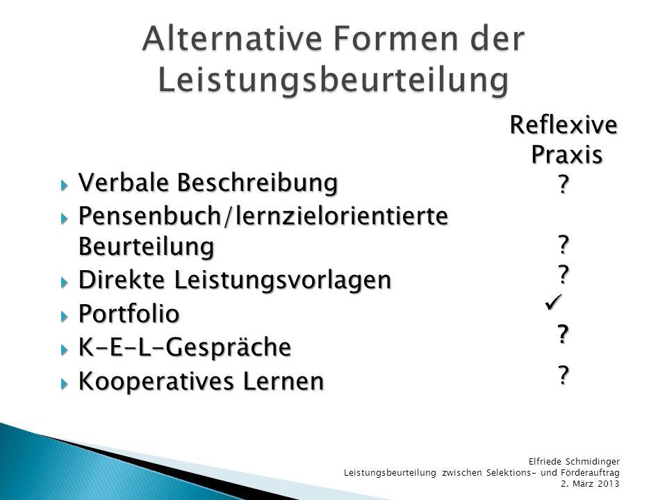 Alternative Formen der Leistungsbeurteilung