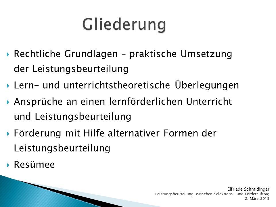 Gliederung Rechtliche Grundlagen – praktische Umsetzung der Leistungsbeurteilung. Lern- und unterrichtstheoretische Überlegungen.