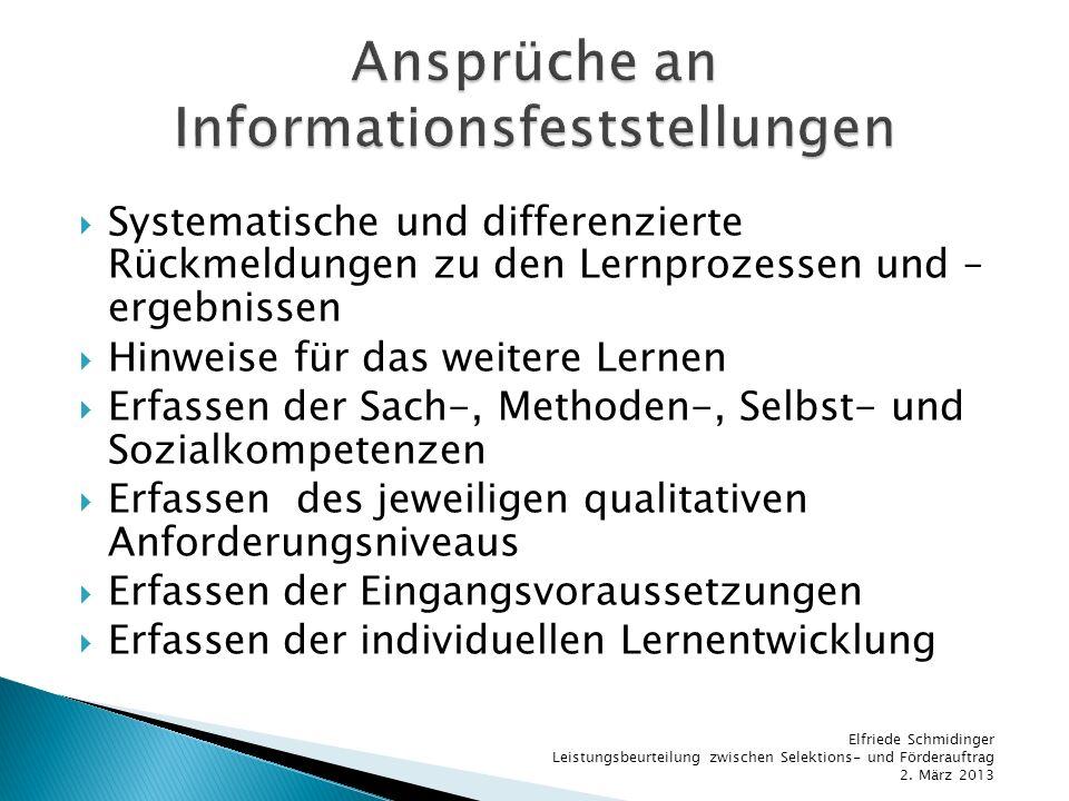 Ansprüche an Informationsfeststellungen