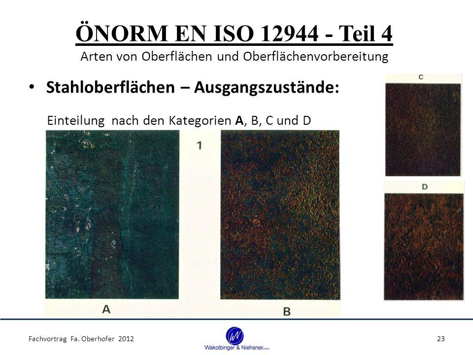 ÖNORM EN ISO 12944 - Teil 4 Arten von Oberflächen und Oberflächenvorbereitung