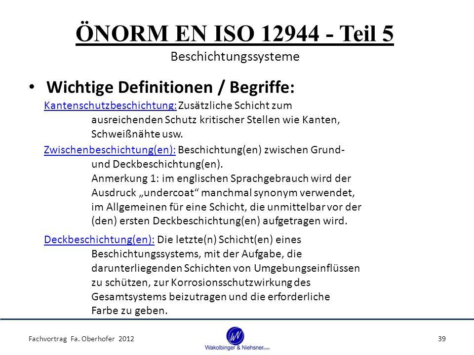 ÖNORM EN ISO 12944 - Teil 5 Beschichtungssysteme