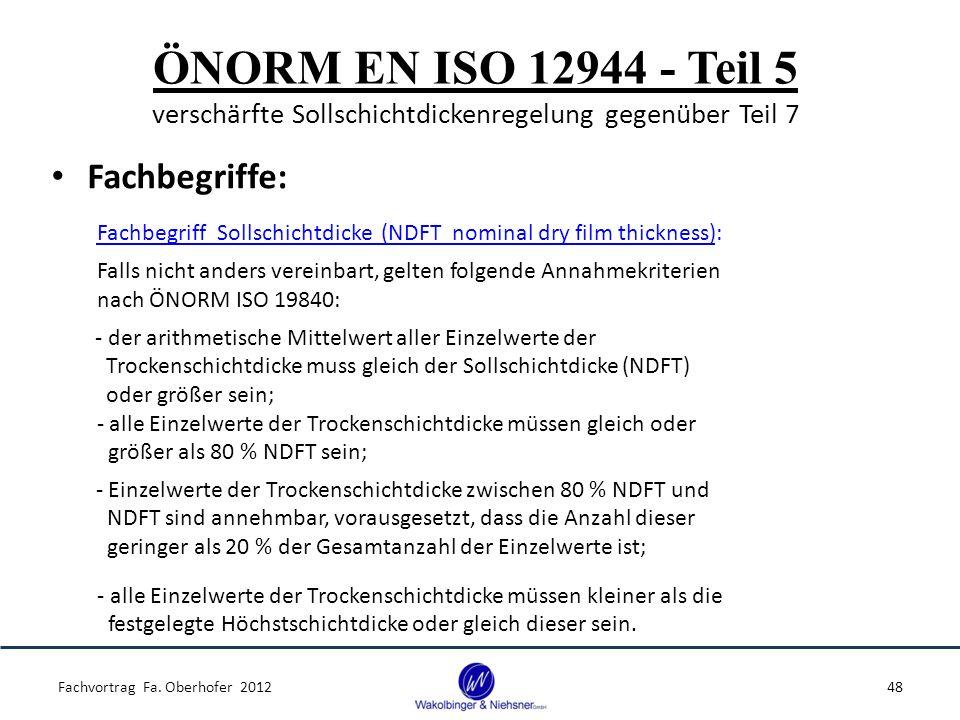 ÖNORM EN ISO 12944 - Teil 5 verschärfte Sollschichtdickenregelung gegenüber Teil 7